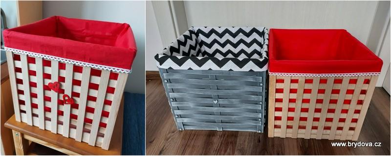 Dřevěné krabice s textilním vnitřkem